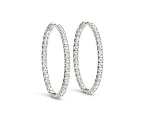Oval Shape Two Sided Diamond Hoop Earrings in 14k White Gold (2 cttw)