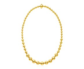 14k Yellow Gold 18 inch Graduated Polished Bead Necklace