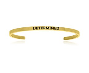 Yellow Stainless Steel Determined Cuff Bracelet