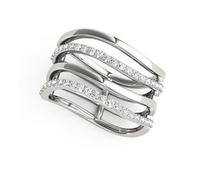 Multi-Band Diamond Ring in 14k White Gold (3/8 cttw)