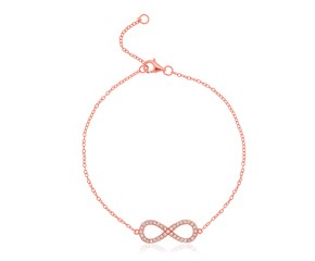 Sterling Silver Rose Toned Infinity Symbol Bracelet with Cubic Zirconias