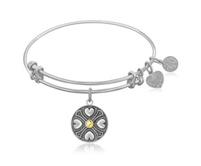 Expandable White Tone Brass Bangle with Yellow Topaz November Symbol