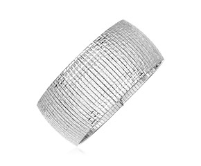 Sterling Silver Serpentine Style Bracelet with Square Patterned Texture