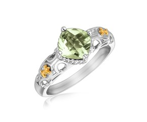 Square Green Amethyst Fluer De Lis Ring in 18k Yellow Gold and Sterling Silver