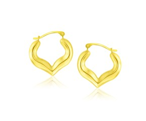Heart Shape Hoop Earrings in 10k Yellow Gold