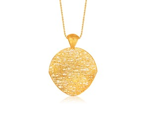 Freeform Weave Shield Pendant in 14k Yellow Gold