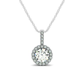 Diamond Halo Pendant in 14k White Gold (5/8 cttw)