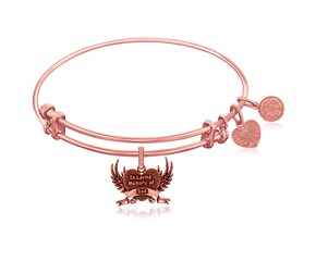 Expandable Pink Tone Brass Bangle with In Loving Memory Of Dad Symbol