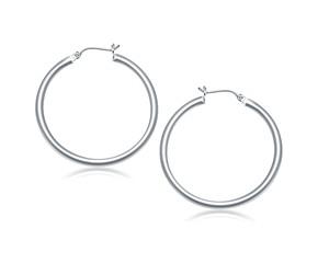 Classic Hoop Earrings in 14k White Gold (40mm Diameter) (3.0mm)