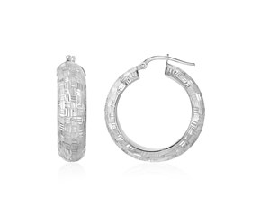 Checker board Motif Textured Domed Hoop Earrings in Sterling Silver