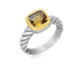 Cushion Citrine Cable Style Shank Ring in 18k Yellow Gold and Sterling Silver
