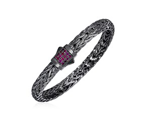 Woven Rope Bracelet with Raspberry Pink Sapphire and Black Finish in Sterling Silver