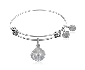 Expandable White Tone Brass Bangle with Shell Symbol with Cubic Zirconia