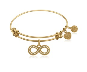 Expandable Yellow Tone Brass Bangle with Infinity Symbol with Cubic Zirconia