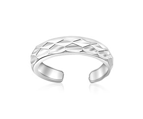 Diamond Cut Open Motif Toe Ring in Rhodium Finished Sterling Silver