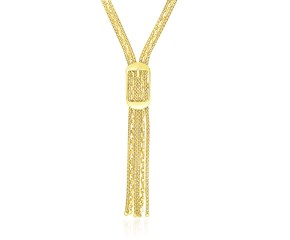 Multi-Strand Chain with Buckle Lariat Necklace in 14K Yellow Gold