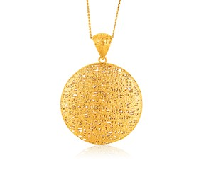 Freeform Weave Circle Pendant with Bail in 14K Yellow Gold