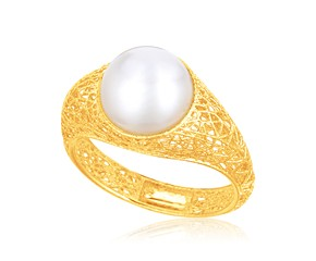 Cultured Pearl Lace Ring in 14k Yellow Gold