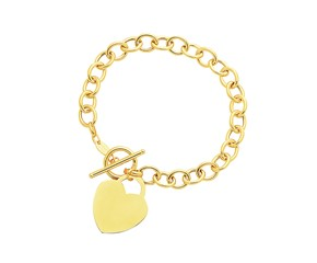 Toggle Heart Bracelet in 14K Yellow Gold