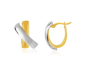 14k Two-Tone Gold X Design Hoop Style Earrings