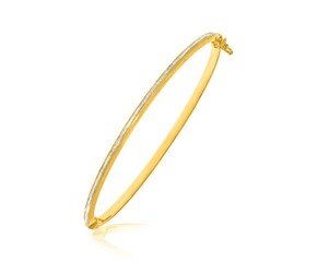 Textured Center Slender Bangle in 14k Two-Tone Gold