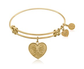 Expandable Yellow Tone Brass Bangle with Heart Symbol