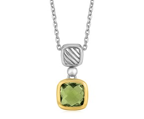 Cushion Green Amethyst Necklace in 18k Yellow Gold and Sterling Silver