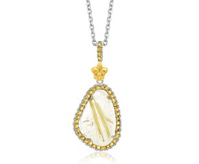 Golden Rutilated Quartz and Citrine Fleur De Lis Pendant in 18K Yellow Gold and Sterling Silver