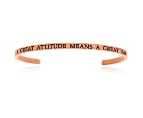 Pink Stainless Steel A Great Attitude Means A Great Day Cuff Bracelet