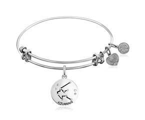 Expandable White Tone Brass Bangle with Aquarius Zodiac Symbol