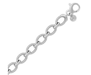 Cable Style Oval Chain Link Bracelet in Sterling Silver