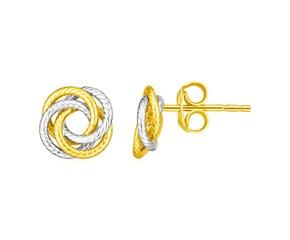 14k Two Tone Gold Love Knot Earrings