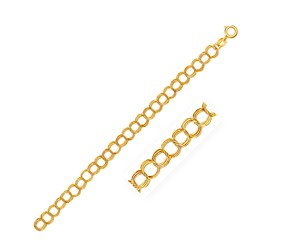 Triple Link Charm Bracelet in 14k Yellow Gold (5.0mm)
