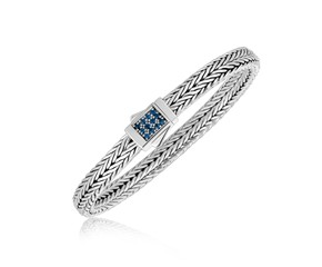 Braided Look Blue Sapphire Embellished Men's Bracelet in Sterling Silver
