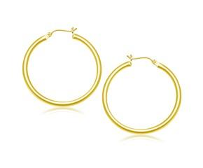 Classic Hoop Earrings in 14k Yellow Gold (40mm Diameter) (3.0mm)