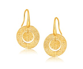 Textured Weave Round Disc Earrings in 14k Yellow Gold