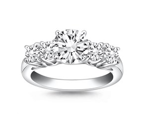 Five Stone Diamond Trellis Engagement Ring  in 14k White Gold