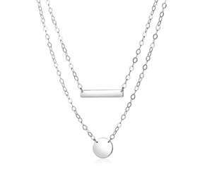 Sterling Silver 18 inch Two Strand Necklace with Polished Bar and Circle Charms