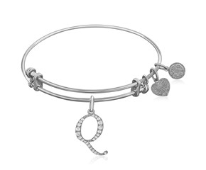 Expandable White Tone Brass Bangle with Q Symbol with Cubic Zirconia