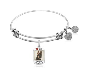 Expandable White Tone Brass Bangle with German Shepherd Dog Charm