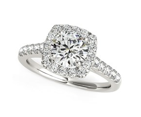Round Cut with Square Shape Halo Diamond Engagement Ring in 14k White Gold (1 1/2 cttw)