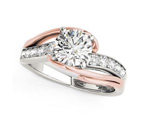 14k White And Rose Gold Bypass Round Split Shank Diamond Engagement Ring (1 1/8 cttw)