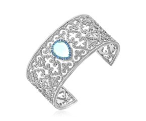Blue Topaz and Blue Sappire Accented Byzantine Style Cuff in Sterling Silver
