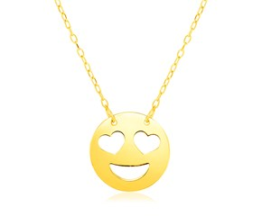 14k Yellow Gold Necklace with Love Emoji Symbol