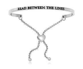 Stainless Steel Read Between The Lines Adjustable Bracelet