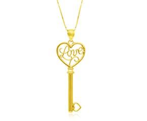 LOVE Skeleton Key Pendant in 14k Yellow Gold