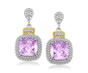 Fancy Cushion Amethyst and Diamond Drop Earrings in 18k Yellow Gold and Sterling Silver (.05cttw)