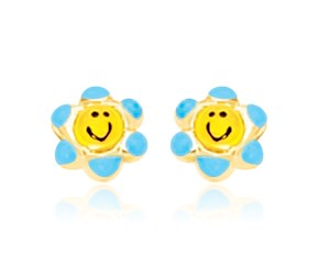Smiley Face Flower Post Earrings in 14k Yellow Gold