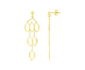 14K Yellow Gold Polished Honeycomb Motif Earrings