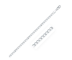Classic Rhodium Plated Curb Chain in Sterling Silver (3.7mm)